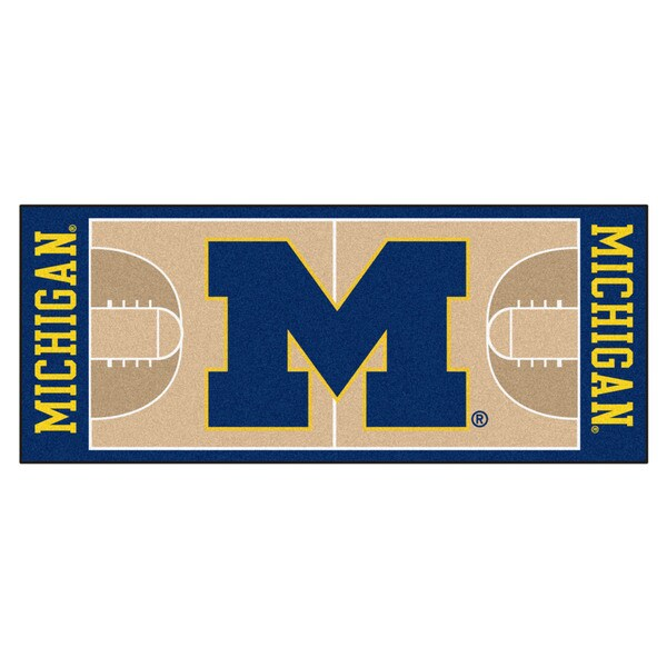 Fanmats University of Michigan Tan Nylon Basketball Court Runner (2'5 x 6')