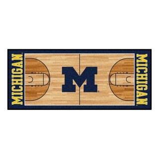 Fanmats University of Michigan Tan Nylon Basketball Court Runner (2'5 x 6')