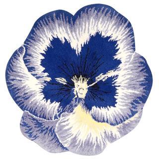 Nourison Petals Blue Square Rug (4' x 4')