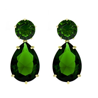 Green CZ Pear Drop Earrings