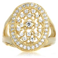 Sterling Silver Gold Color CZ Wedding Ring