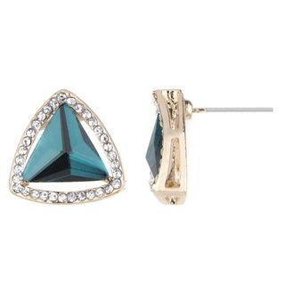 Blue Teal CZ Estate Style Stud Earrings