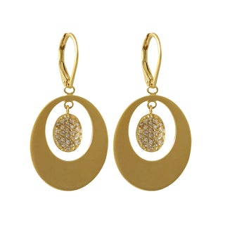 Luxiro Matte Gold Finish Pave Cubic Zirconia Floating Oval Dangle Earrings