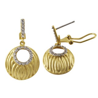 Luxiro Two-tone Sterling Silver Matte Gold Finish Cubic Zirconia Circle Earrings