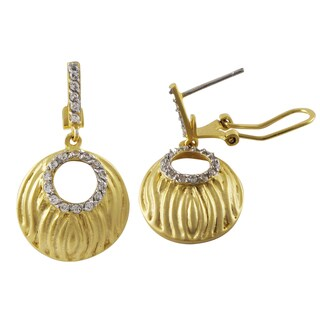 Luxiro Two-tone Sterling Silver Matte Gold Finish Cubic Zirconia Circle Earrings - White