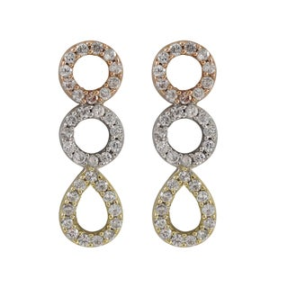 Luxiro Tri-color Sterling Silver Cubic Zirconia Geometric Drop Earrings