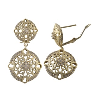 Luxiro Sterling Silver Gold Finish Cubic Zirconia Filigree Circle Dangle Earrings