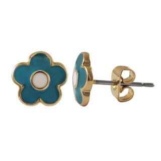 Link to Luxiro Gold Finish Children's Enamel Flower Stud Earrings Similar Items in Children's Jewelry