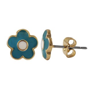 Luxiro Gold Finish Children's Enamel Flower Stud Earrings