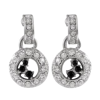 Luxiro Rhodium Finish Black and White Crystals Circle Dangle Earrings