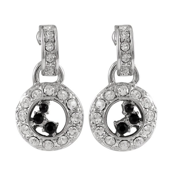 9247faf33 Luxiro Rhodium Finish Black and White Crystals Circle Dangle Earrings -  Silver
