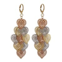 Luxiro Tri-color Gold Finish Lacy Hearts Chandelier Dangle Earrings - Silver