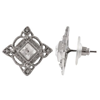 Luxiro Rhodium Finish Pave Crystals Square Stud Earrings