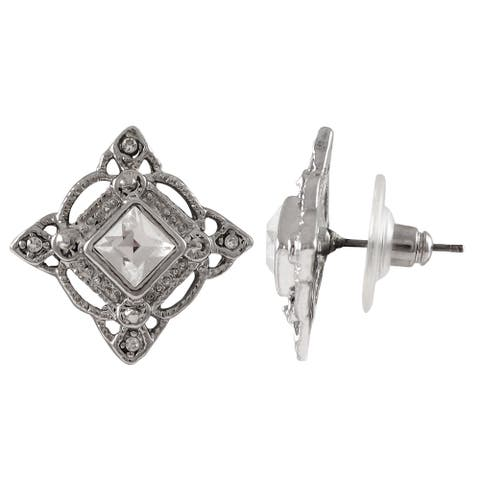 Luxiro Rhodium Finish Pave Crystals Square Stud Earrings - Silver