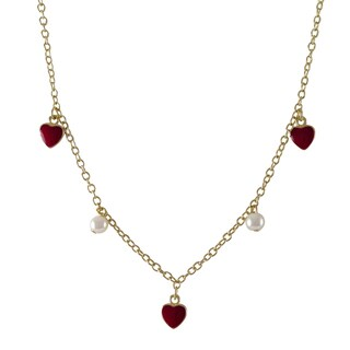 Luxiro Gold Finish Children's Faux Pearl Enamel Hearts Necklace