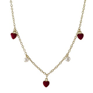 Luxiro Gold Finish Children's Faux Pearl Enamel Hearts Necklace - Red