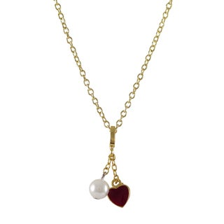 Luxiro Gold Finish Children's Faux Pearl Enamel Heart Pendant Necklace
