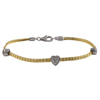 Luxiro Sterling Silver Two-tone Cubic Zirconia Heart Bracelet