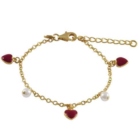 Luxiro Gold Finish Children's Faux Pearl Red Enamel Heart Charm Bracelet