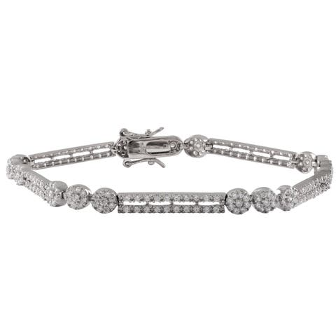 Luxiro Sterling Silver Pave Cubic Zirconia Bar and Circle Bracelet