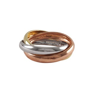 Luxiro Sterling Silver Tri-color Gold Finish Stacked Ring - White