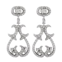 Luxiro Sterling Silver Cubic Zirconia Baroque Dangle Earrings
