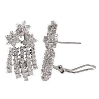 Luxiro Sterling Silver Cubic Zirconia Floral Bouquet Earrings