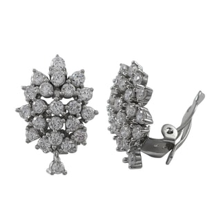 Luxiro Sterling Silver Cubic Zirconia Cluster Clip-on Earrings