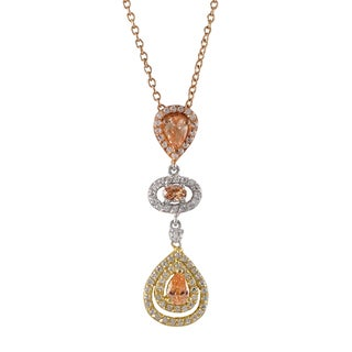 Luxiro Tri-color Sterling Silver Champagne Cubic Zirconia Teardrop Pendant Necklace