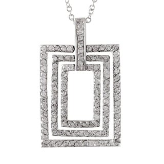 Luxiro Sterling Silver Modern Rectangle Pendant Necklace