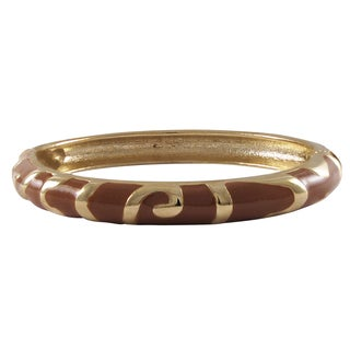 Luxiro Gold Finish Brown Enamel Swirl Bangle Bracelet