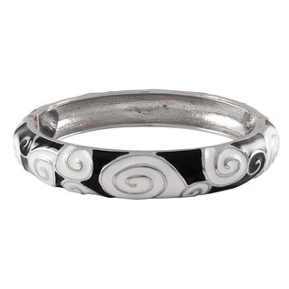 Luxiro Rhodium Finish Black and White Enamel Spiral Bangle Bracelet