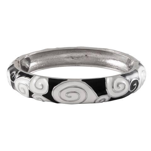 Luxiro Rhodium Finish Black and White Enamel Spiral Bangle Bracelet
