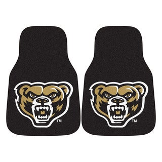 Fanmats Oakland University Black Nylon 2-Piece Carpeted Car Mat Set (1'5 x 2'3)
