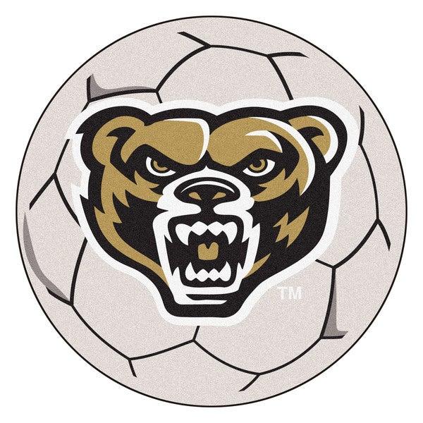 Fanmats Oakland University White Nylon Soccer Ball Mat (2'2 x 2'2)