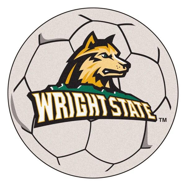 Fanmats Wright State University White Nylon Soccer Ball Mat (2'2 x 2'2)