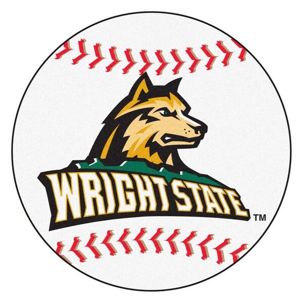 Fanmats Wright State University White Nylon Baseball Mat (2'2 x 2'2)
