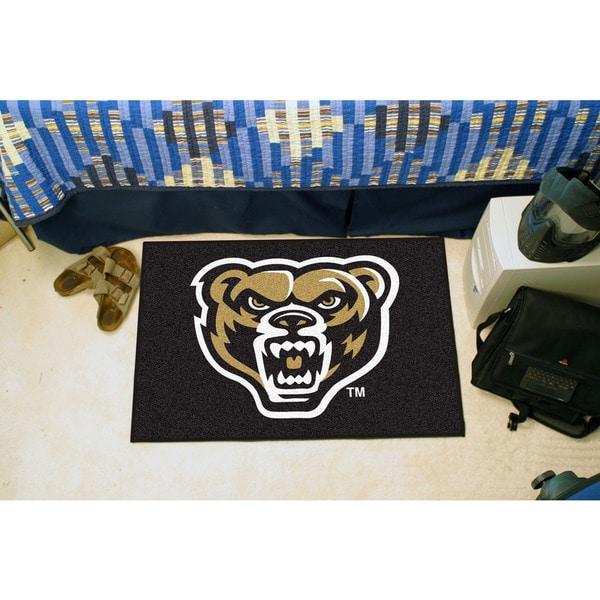 Fanmats Oakland University Black Nylon Stater Rug (1'6 x 2'5)