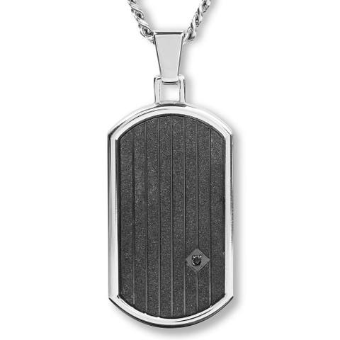 Crucible Stainless Steel Sandblasted Cubic Zirconia Dog Tag Pendant