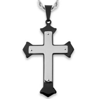 Men's Stainless Steel Flared Layer Cross Pendant (Option: Black)