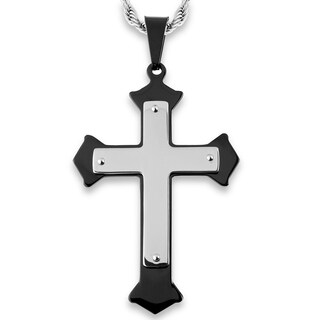 Men's Stainless Steel Flared Layer Cross Pendant