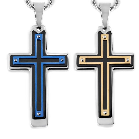 Men's Tri-Color Stainless Steel Multi-Layer Cross Pendant