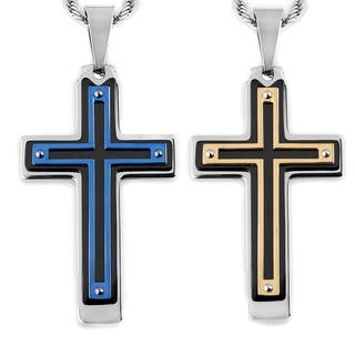 Men's Tri-Color Stainless Steel Multi-Layer Cross Pendant|https://ak1.ostkcdn.com/images/products/10383550/P17488354.jpg?impolicy=medium