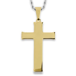 Men's Stainless Steel Flat Cross Pendant Necklace