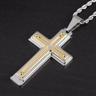 Men's Two-Tone Stainless Steel Multi-layer Cross Pendant (Option: White - White/Yellow/Two-Tone)