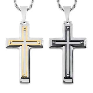 Men's Two-Tone Stainless Steel Multi-layer Cross Pendant
