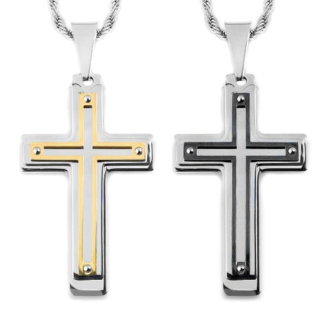 Two-Tone Stainless Steel Multi-Layer Cross Pendant