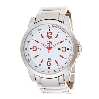 Fortune NYC Men's Silver Case and Red Hand / Silver Strap Watch