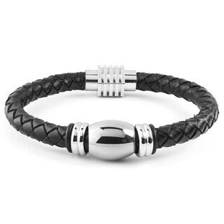 Men's Stainless Steel Beaded Black Braided Leather Bracelet