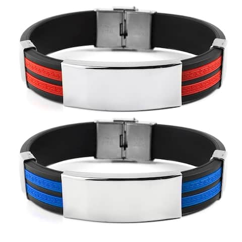 Crucible Stainless Steel Tribal Design Rubber Bracelet - 8.25 Inches